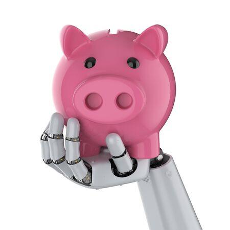 Finanztechnologiekonzept mit 3D-Rendering-Cyborg-Hand, die Sparschwein hält Standard-Bild