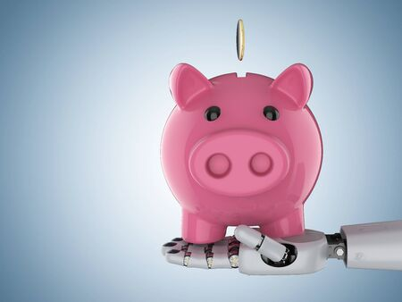 Financial technology concept with 3d rendering cyborg hand holding piggy bank Фото со стока