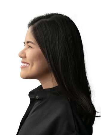Asian woman wear black shirt and smiling isolated on white
