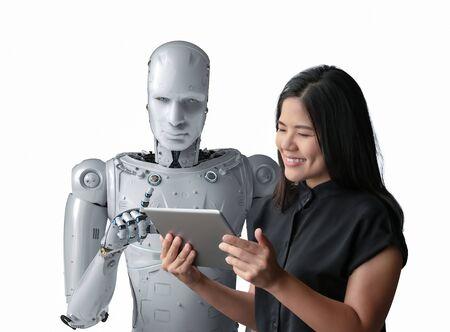 Asian woman happy living with cyborg Фото со стока