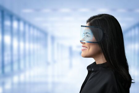 Asian woman wear goggle or headset