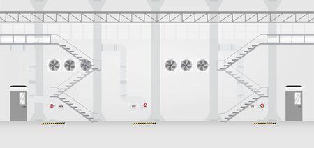 Factory interior with door closed vector illustration