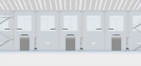 Factory interior with shutter door closed vector illustration