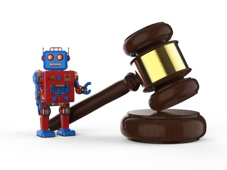 Cyber law concept with 3d rendering robot tin toy with gavel judge on white background