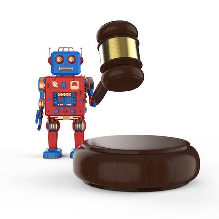 Concetto di legge informatica con giocattolo di latta robot di rendering 3d con giudice a martelletto su sfondo bianco Archivio Fotografico