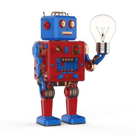 Technology creativity concept with 3d rendering tin toy robot hold light bulb Reklamní fotografie