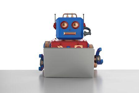 3d rendering robot working on laptop computer