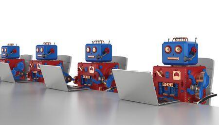 3d rendering group of robots are working on laptop computer