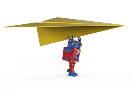 Aviation technology concept with 3d rendering robot holding paper plane