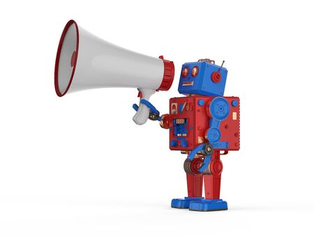 Online marketing concept with 3d rendering robot with megaphone Stok Fotoğraf