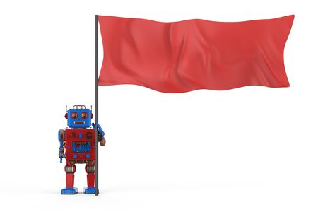 Leadership concept with 3d rendering robot with red flag