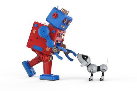 3d rendering artificial intelligence robot with dog robot Stok Fotoğraf