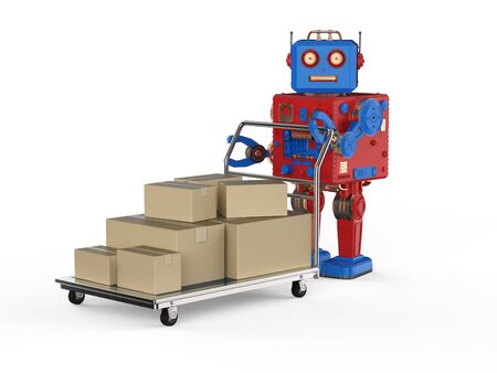 Automation warehouse concept with 3d rendering robot with cardboard box