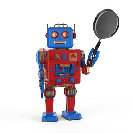 3d rendering robot hand holding frying pan on white background