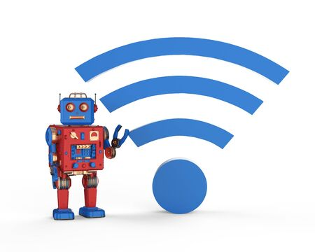 3d rendering robot with blue wifi sign on white background Stok Fotoğraf