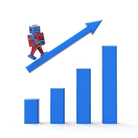 Technology industrial growth concept with 3d rendering robot with growth graph