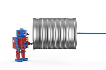 Communication technology concept with 3d rendering robot holding tin can phone