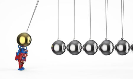 Machine learning concept with 3d rendering robot with newton cradle Stock Photo