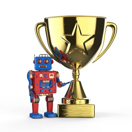 Leadership technology concept with 3d rendering robot holding golden trophy