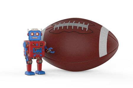 3d rendering tintoy robot holding football ball