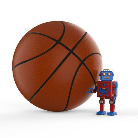 3d rendering robot tintoy with basketball on white background