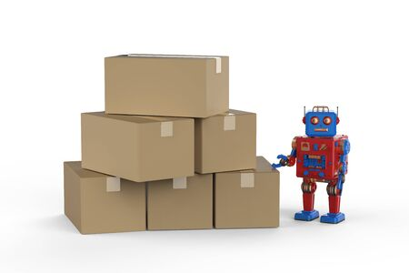 Automation warehouse concept with 3d rendering robot with heap of cardboard boxes