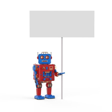 3d rendering tintoy robot with white blank banner