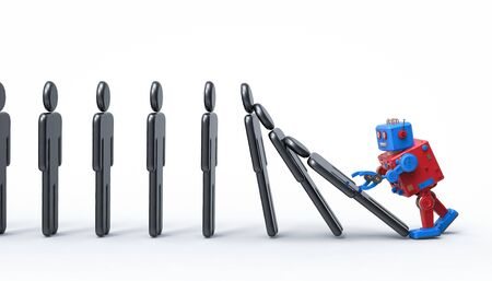 Technology effect concept with 3d rendering robotic hand collapse dominoes