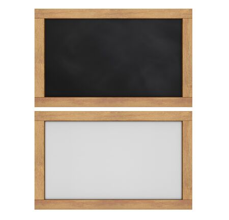 3d rendering empty blackboard and white board isolated on white Stok Fotoğraf