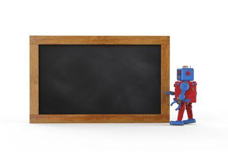 3d rendering tintoy robot with empty blackboard Stok Fotoğraf