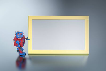 3d rendering tintoy robot with empty white board