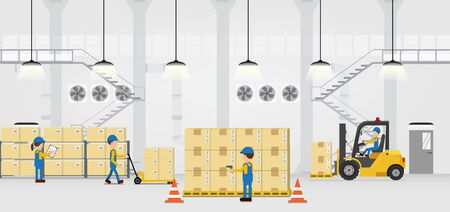 Warehouse in process with workers working flat design vector illustration Иллюстрация