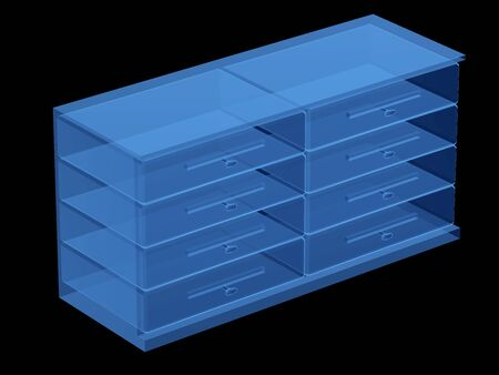 3d rendering x-ray of drawers isolated on black Stok Fotoğraf