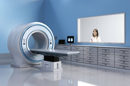 Doctor with 3d rendering mri scan machine or magnetic resonance imaging scan device