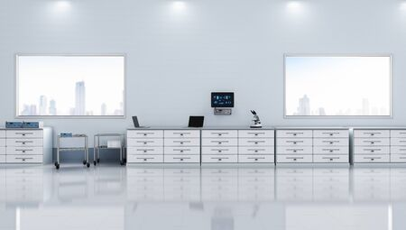 3d rendering laboratory interior with medical supplies Stok Fotoğraf