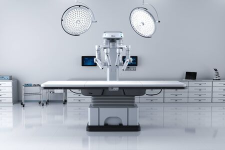 3d rendering surgery room with robotic surgery and empty bed Stock Photo - 128795420