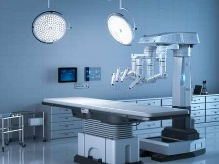 3d rendering surgery room with robotic surgery and empty bed Stock Photo - 128795416