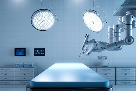 3d rendering surgery room with robotic surgery and empty bed Stock Photo - 128795419