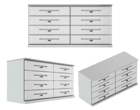 3d rendering set of drawers in 3 angles isolated on white