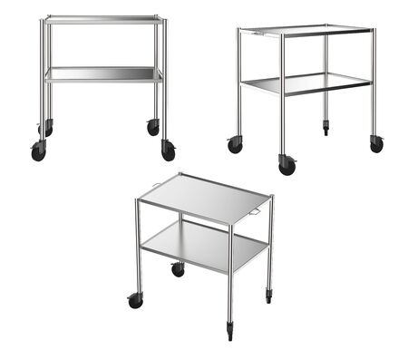 3d rendering set of medical carts in 3 angles isolated on white
