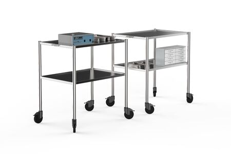 3d rendering medical carts with medical supplies on white background Stok Fotoğraf