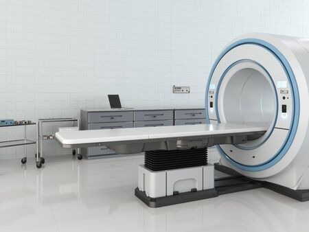 3d rendering mri scan machine or magnetic resonance imaging scan device in room