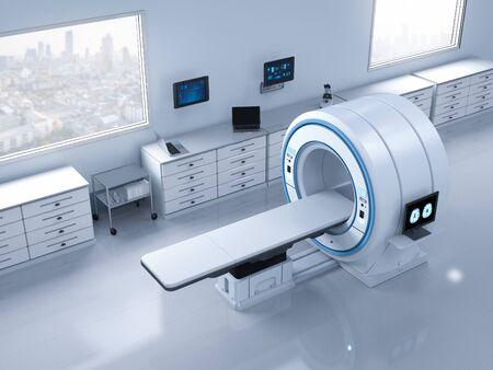 3d rendering mri scan machine or magnetic resonance imaging scan device Stok Fotoğraf