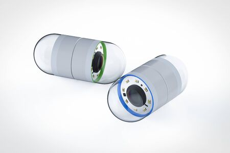 3d rendering set of capsule endoscopy on white background