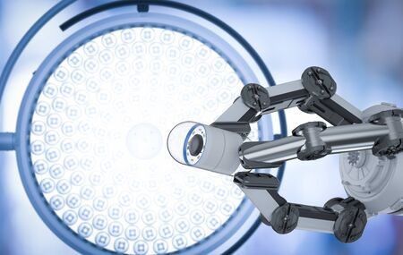 Medical technology concept with 3d rendering robotic arm with capsule endoscopy