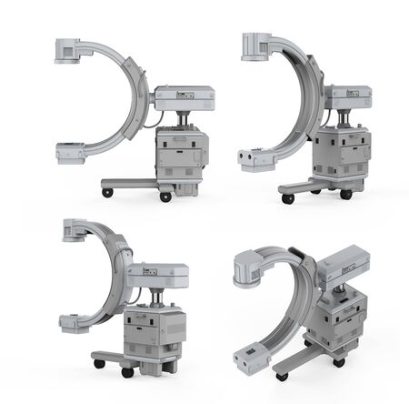 3d rendering C-Arm machine with monitor on white background