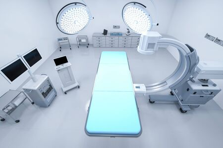 3d rendering C-Arm scan machine with empty bed 스톡 콘텐츠