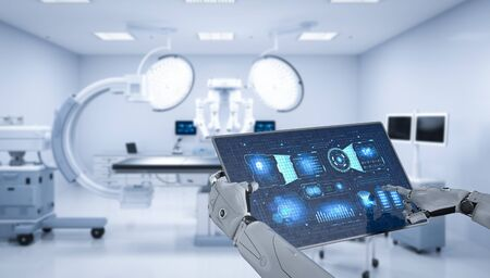 Medical technology concept with 3d rendering robot hand hold tablet with graphic display in surgery room
