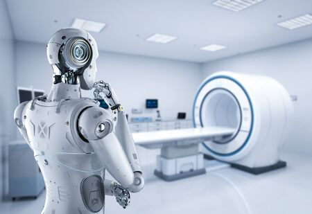 Medical technology concept with 3d rendering cyborg diagnos with C-Arm machine 스톡 콘텐츠