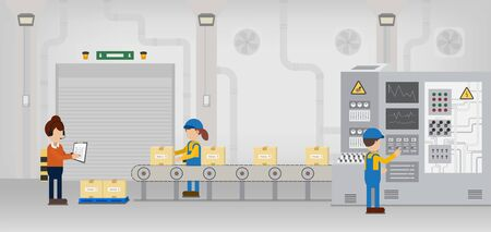 Factory production line with worker work with machine and conveyor belt flat design vector illustration